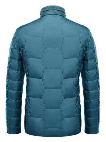 Latest Zipper Up Geometric Padded Jacket ODM Designer - XL BLUE Mobile
