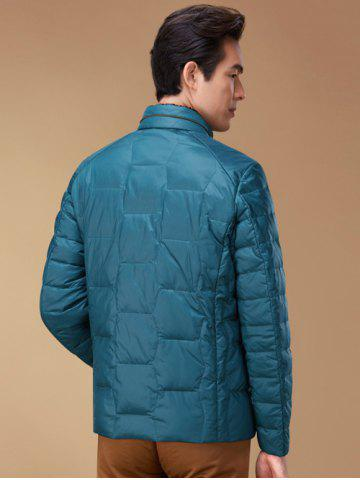 Fancy Zipper Up Geometric Padded Jacket ODM Designer - XL BLUE Mobile