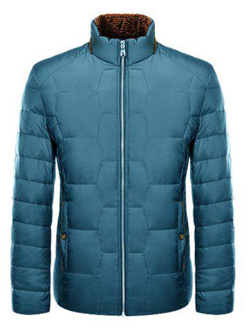 Affordable Zipper Up Geometric Padded Jacket ODM Designer BLUE M