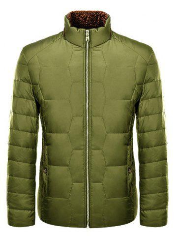 Zipper-Up géométrique Motif Down Jacket Vert 2XL
