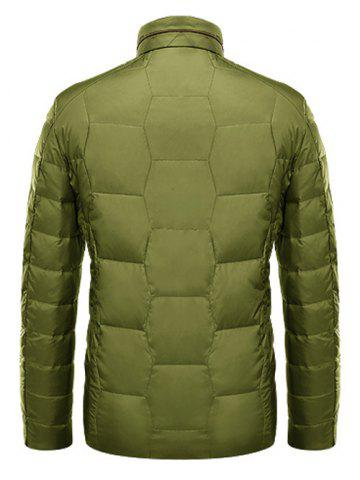 Chic Zipper Up Geometric Padded Jacket ODM Designer - L GREEN Mobile