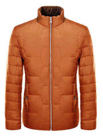 Sale Zipper Up Geometric Padded Jacket ODM Designer ORANGE S