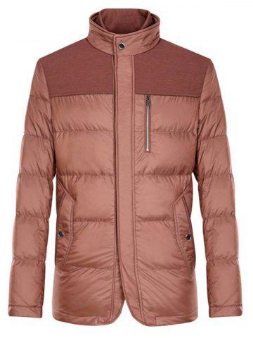 Chic Spliced Zipper-Up Pockets Design Padded Jacket ODM Designer