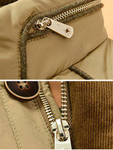 Discount Zipper Button Closure Stand Collar Padded Jacket ODM Designer - 2XL KHAKI Mobile
