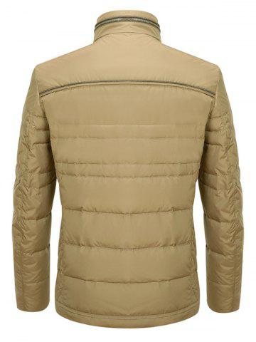 Fashion Zipper Button Closure Stand Collar Padded Jacket ODM Designer - XL KHAKI Mobile