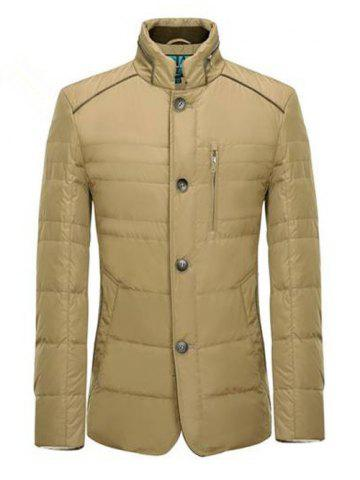 Fashion Zipper Button Closure Stand Collar Padded Jacket ODM Designer - L KHAKI Mobile