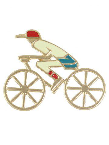 Online Hollow Out Bicycle Boy Shape Brooch - GOLDEN  Mobile