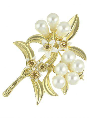 New Faux Pearl Alloy Leaf Floral Brooch - GOLDEN  Mobile