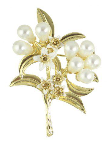 Affordable Faux Pearl Alloy Leaf Floral Brooch - GOLDEN  Mobile