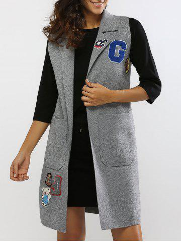 Chic Bear Embroidered Double Pockets Long Vest