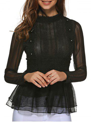 Discount Lace Paneled Tulle Blouse