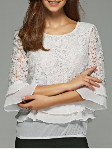 Shops Ruffled Lace Blouse WHITE 2XL