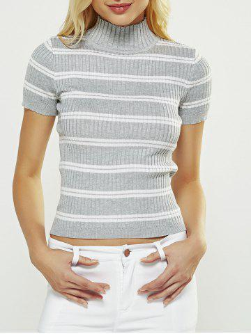 Outfit Short Sleeve Striped Sweater