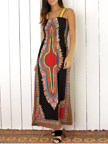 Online Tribal Print Color Block Maxi Dress