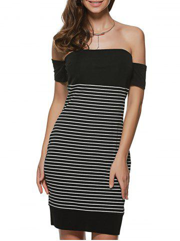 Fancy Striped Off The Shoulder Night Out Dresses