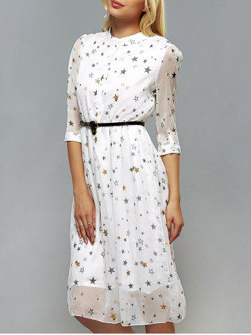Fashion Star Pattern Belted Dress