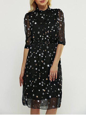 Fashion Star Pattern Belted Dress BLACK S