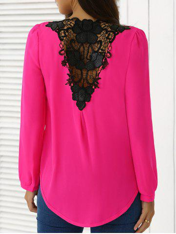 Épissage en mousseline de soie Crochet Surplice Blouse rose XL