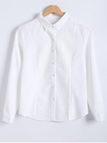 Discount Slimming Openwork Spliced Shirt
