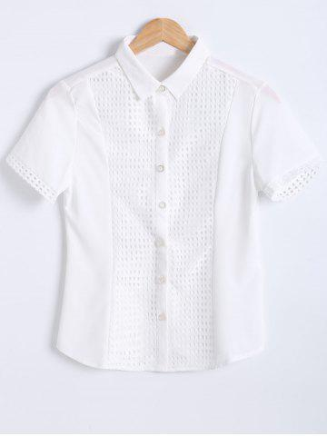 New Slimming Short Sleeves Openwork Tuxedo Shirt WHITE 2XL