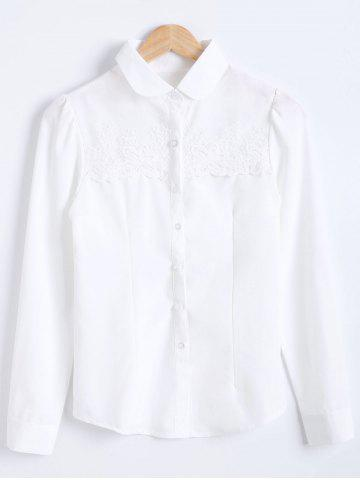 Latest Slimming Crochet Panel Long Sleeves Formal Shirt WHITE 2XL