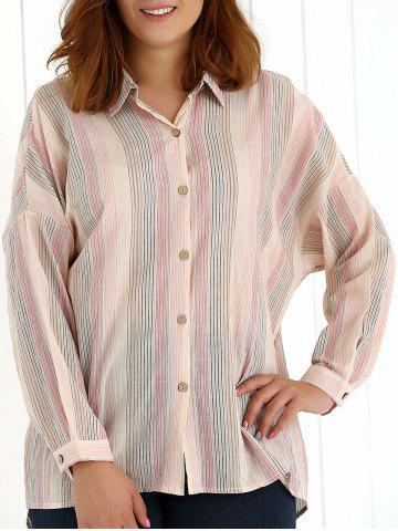 Store Oversized Colored Striped Long Sleeves Shirt
