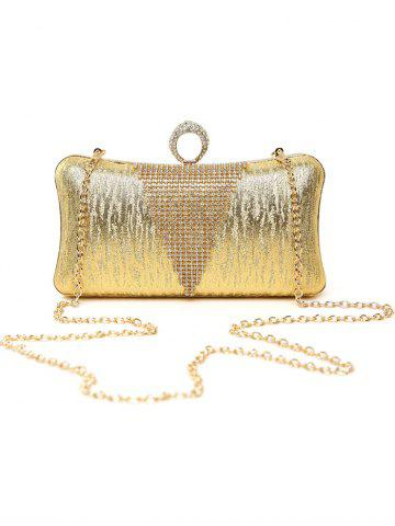 New Clip Chains Ring Rhinestone Evening Bag - GOLDEN  Mobile