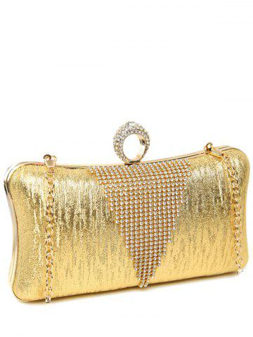 Store Clip Chains Ring Rhinestone Evening Bag - GOLDEN  Mobile