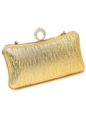 Shop Clip Chains Ring Rhinestone Evening Bag - GOLDEN  Mobile