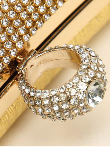 Online Clip Chains Ring Rhinestone Evening Bag - GOLDEN  Mobile