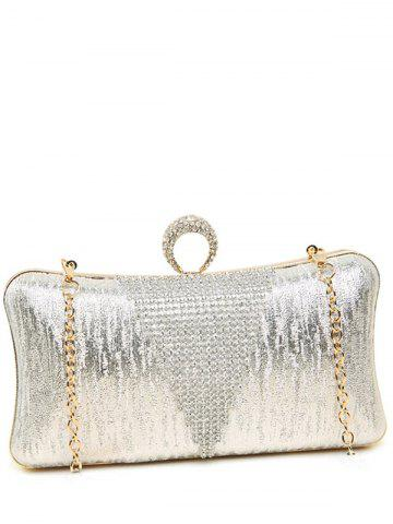 Store Clip Chains Ring Rhinestone Evening Bag - SILVER  Mobile