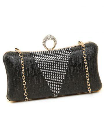 Outfit Clip Chains Ring Rhinestone Evening Bag - BLACK  Mobile