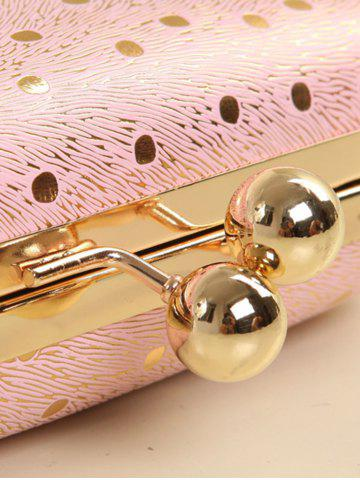 Fashion Kiss Lock Dot Chains Evening Bag - PINK  Mobile