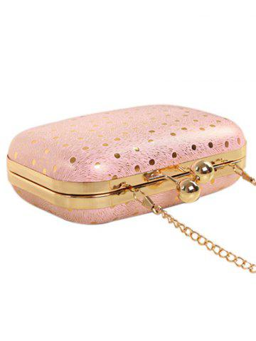Discount Kiss Lock Dot Chains Evening Bag - PINK  Mobile