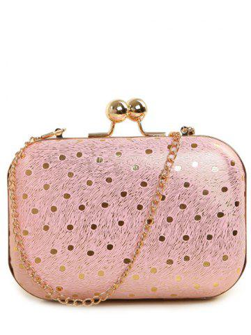 Online Kiss Lock Dot Chains Evening Bag - PINK  Mobile