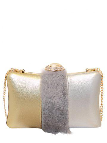 Fancy Faux Fur Rhinestone Chains Evening Bag - GRAY  Mobile