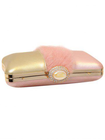 Latest Faux Fur Rhinestone Chains Evening Bag - PINK  Mobile