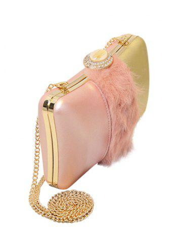 Outfit Faux Fur Rhinestone Chains Evening Bag - PINK  Mobile
