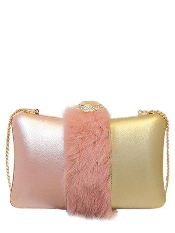 Cheap Faux Fur Rhinestone Chains Evening Bag - PINK  Mobile