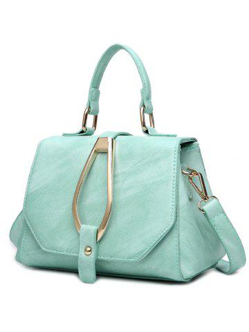 Latest Magnetic Metal Flap Stitching Tote Bag - GREEN  Mobile