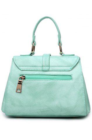 Unique Magnetic Metal Flap Stitching Tote Bag - GREEN  Mobile