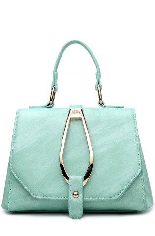 Chic Magnetic Metal Flap Stitching Tote Bag - GREEN  Mobile