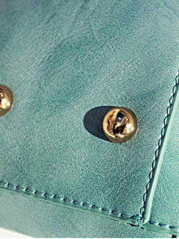 Trendy Magnetic Metal Flap Stitching Tote Bag - GREEN  Mobile