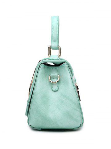 Buy Magnetic Metal Flap Stitching Tote Bag - GREEN  Mobile
