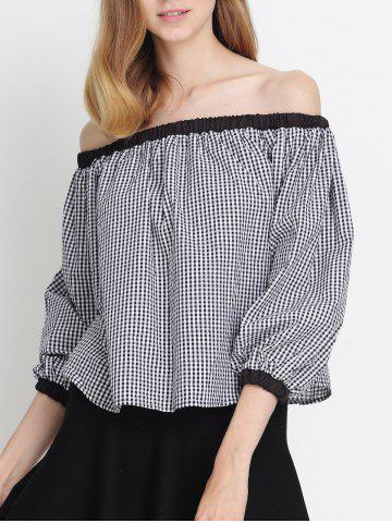 New Plaid Off The Shoulder Flounce Blouse
