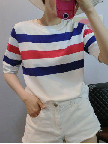 Affordable Colorful Striped 1/2 Sleeve T-Shirt