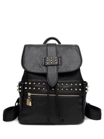 Outfits Rivets Drawstring Zipper Backpack
