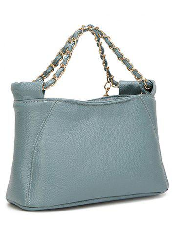 Unique PU Leather Metal Chains Tote Bag - BLUE  Mobile