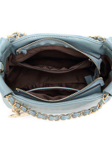 Fancy PU Leather Metal Chains Tote Bag - BLUE  Mobile