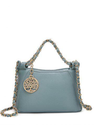 Fancy PU Leather Metal Chains Tote Bag BLUE